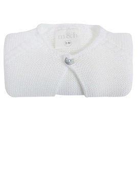 White thick sort knitted baby cardigan m&h