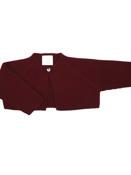 Burgundy short baby cardigan m&h
