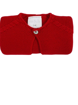 Short knit baby cardigan in red m&h
