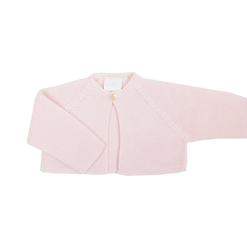 Pink thick knit baby cardigan