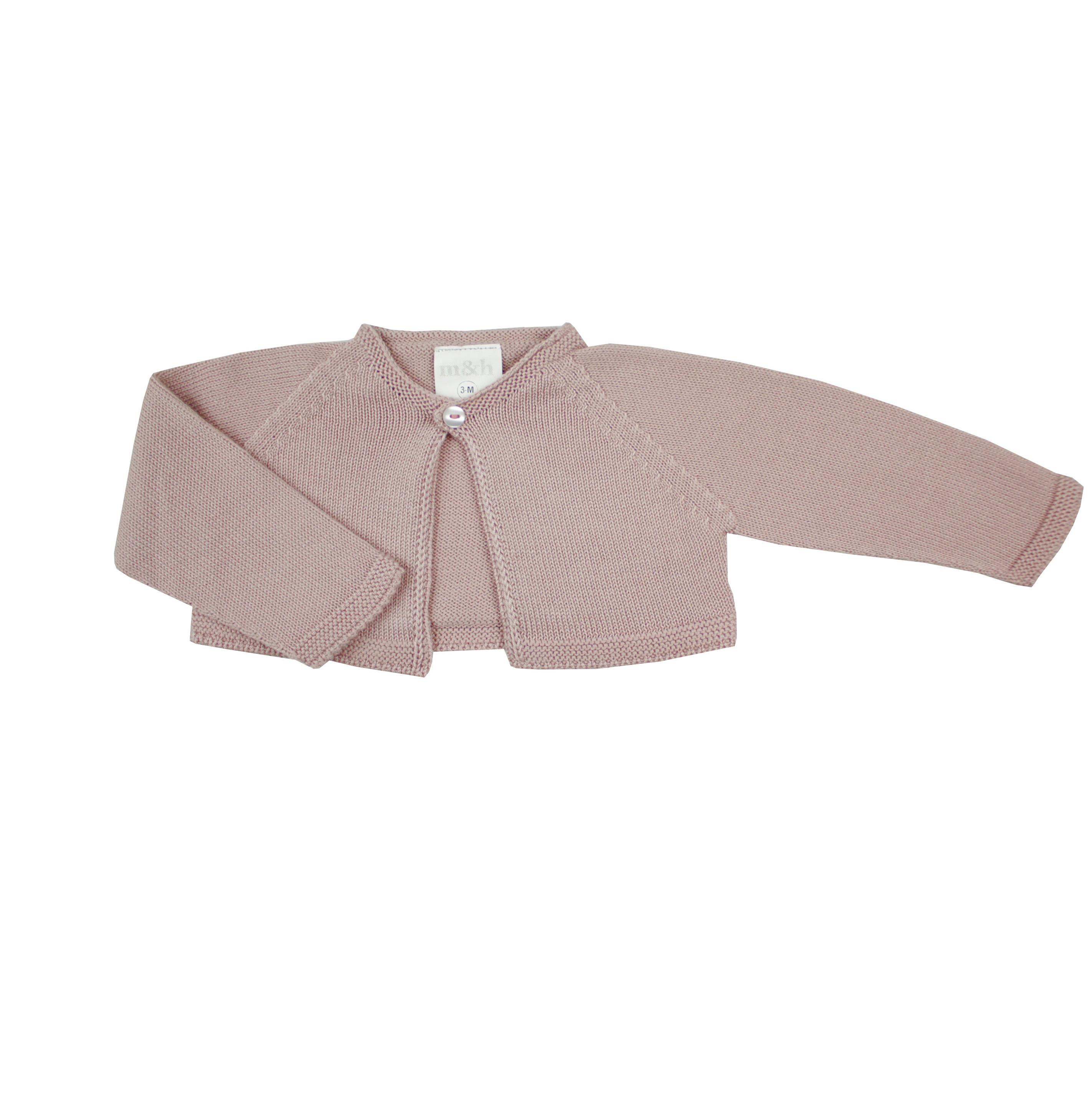 36120442f Chaqueta corta rosa palo en punto bebé
