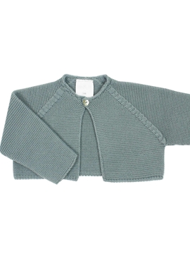Aquarelle green thick knit baby cardigan