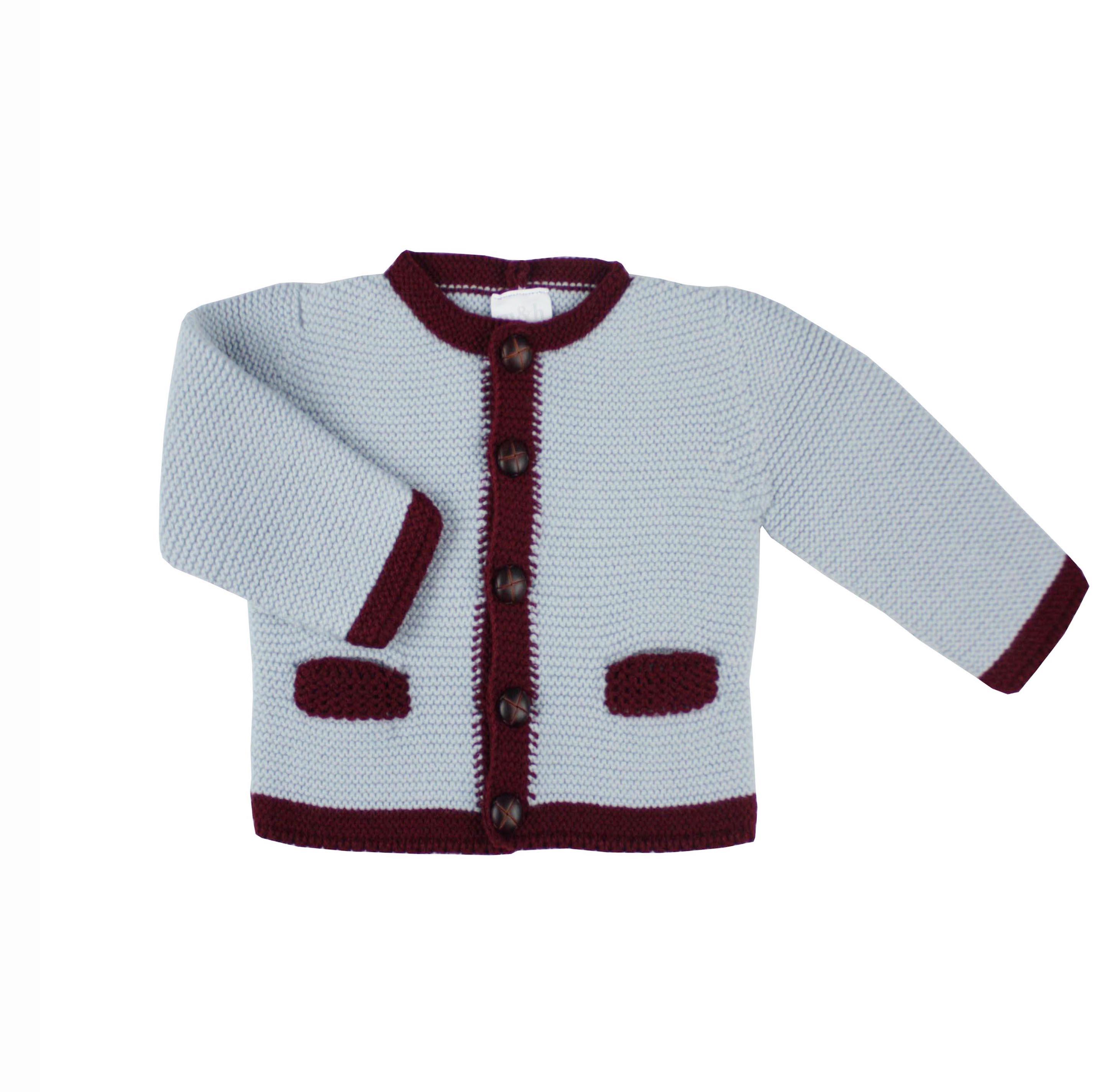 8292c922782c6 Knitted Austrian cardigan. Grey and burgundy.