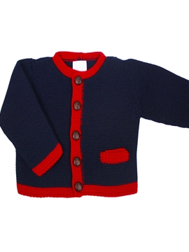 Navy blue and red cardigan