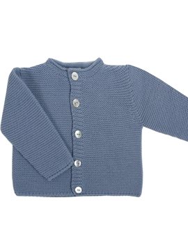 Thick knit cardigan in medium blue