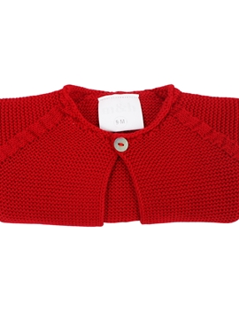 short knit cardigan in red
