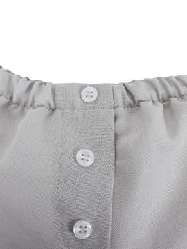 elastic waist Grey linen fabric short