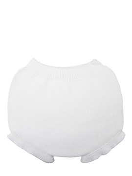 Baby white knit bloomer with ruffles