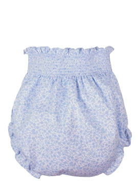 Baby bloomer blues and white pattern