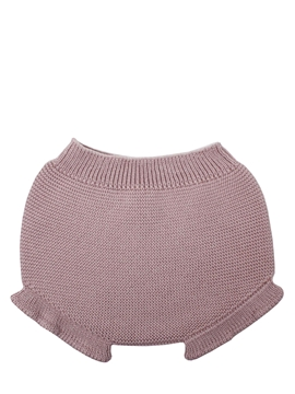 Baby pastel pink knit bloomer with ruffles