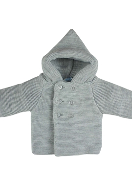 Grey hooded cable-knit baby cardigan
