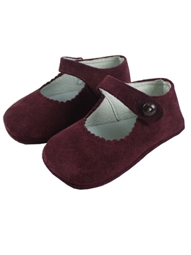 Mary Jane Burgundy suede pram shoes