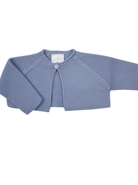 Medium blue thick knit baby cardigan