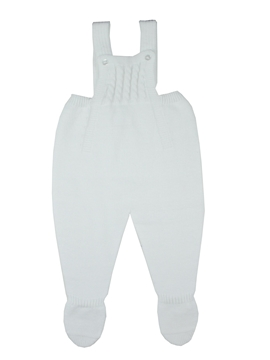 White knit baby dungaree with braces m&h
