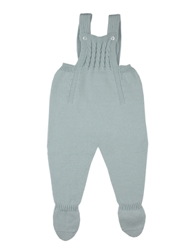 Grey knit baby dungaree with braces m&h