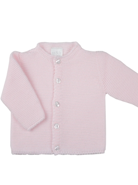 Long knitted baby cardigan in pink m&h