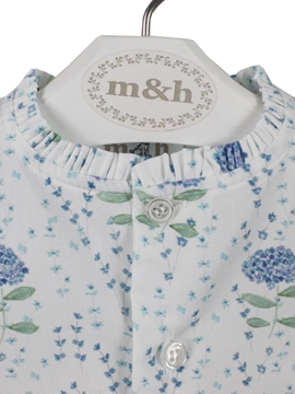 detail collar Sleeveless blouse. Blue Hydrangeas pattern