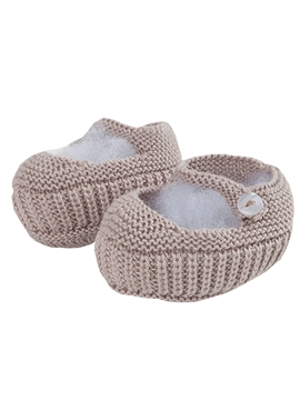 Beige Mary Jane baby knit shoes
