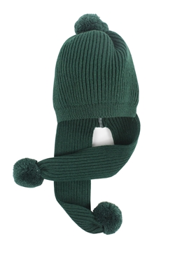 Dark green knit cap with scarf