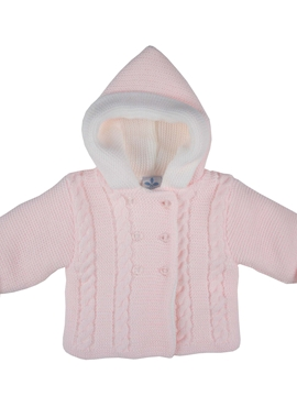 pink hooded cable-knit baby cardigan