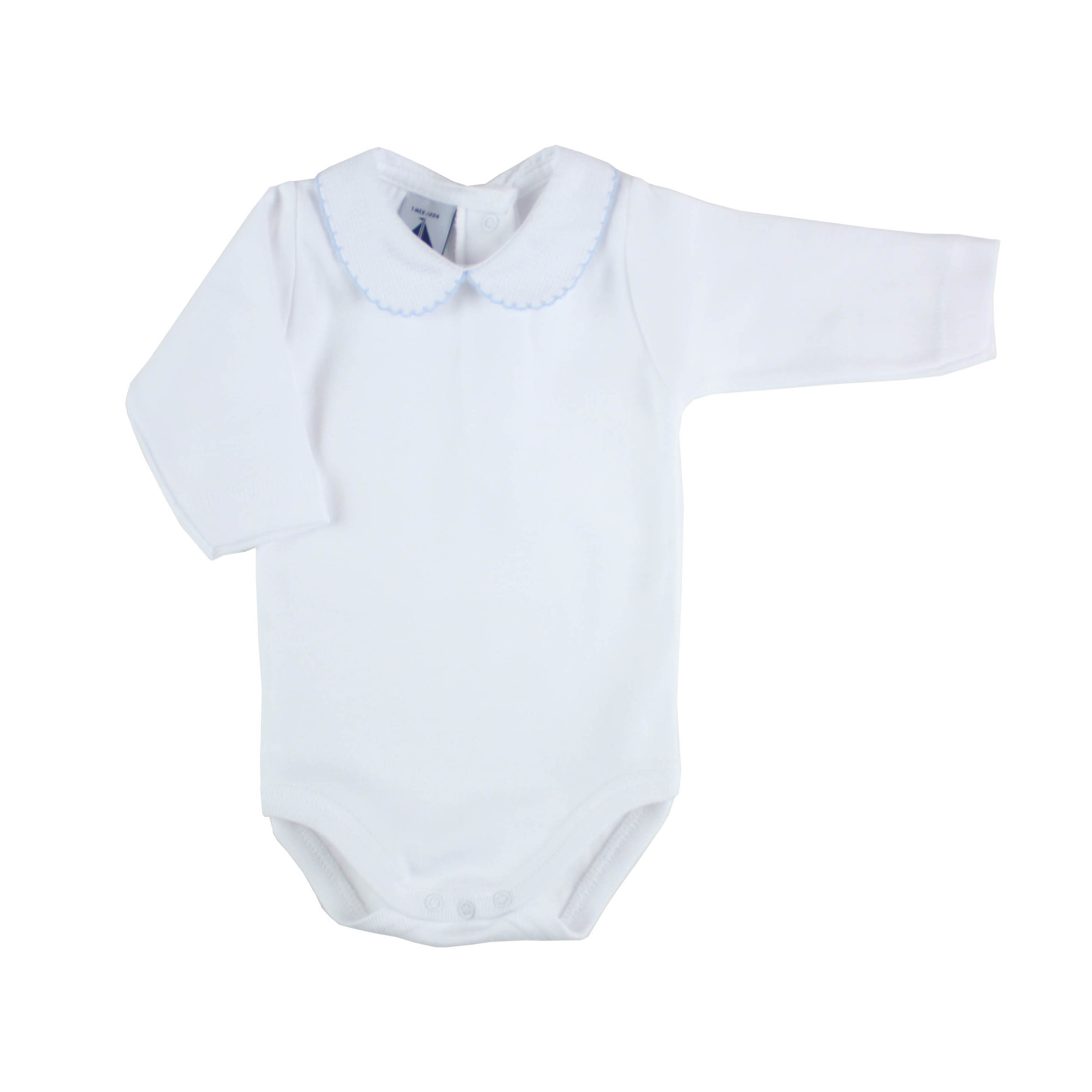 long sleeve bodysuit baby with Peter Pan blue collar by Babidº