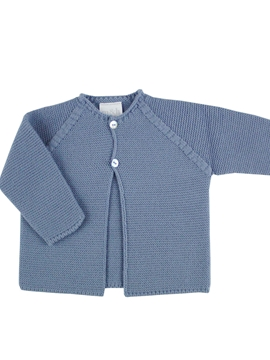 BMedium blue thick knitted short baby cardigan m&h