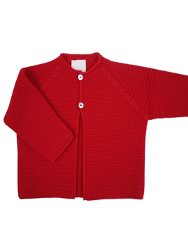 Red knitted long baby cardigan m&h