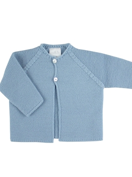 Blue thick knitted long baby cardigan m&h