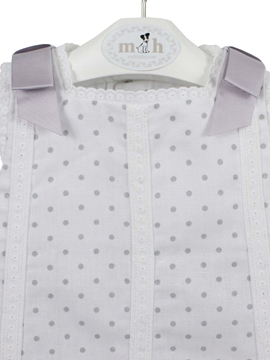 Grey polka dots newborn dress