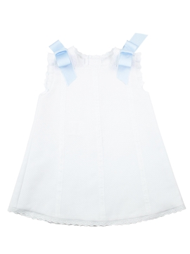 Baby's Dress in white piqué fabric and blue bows