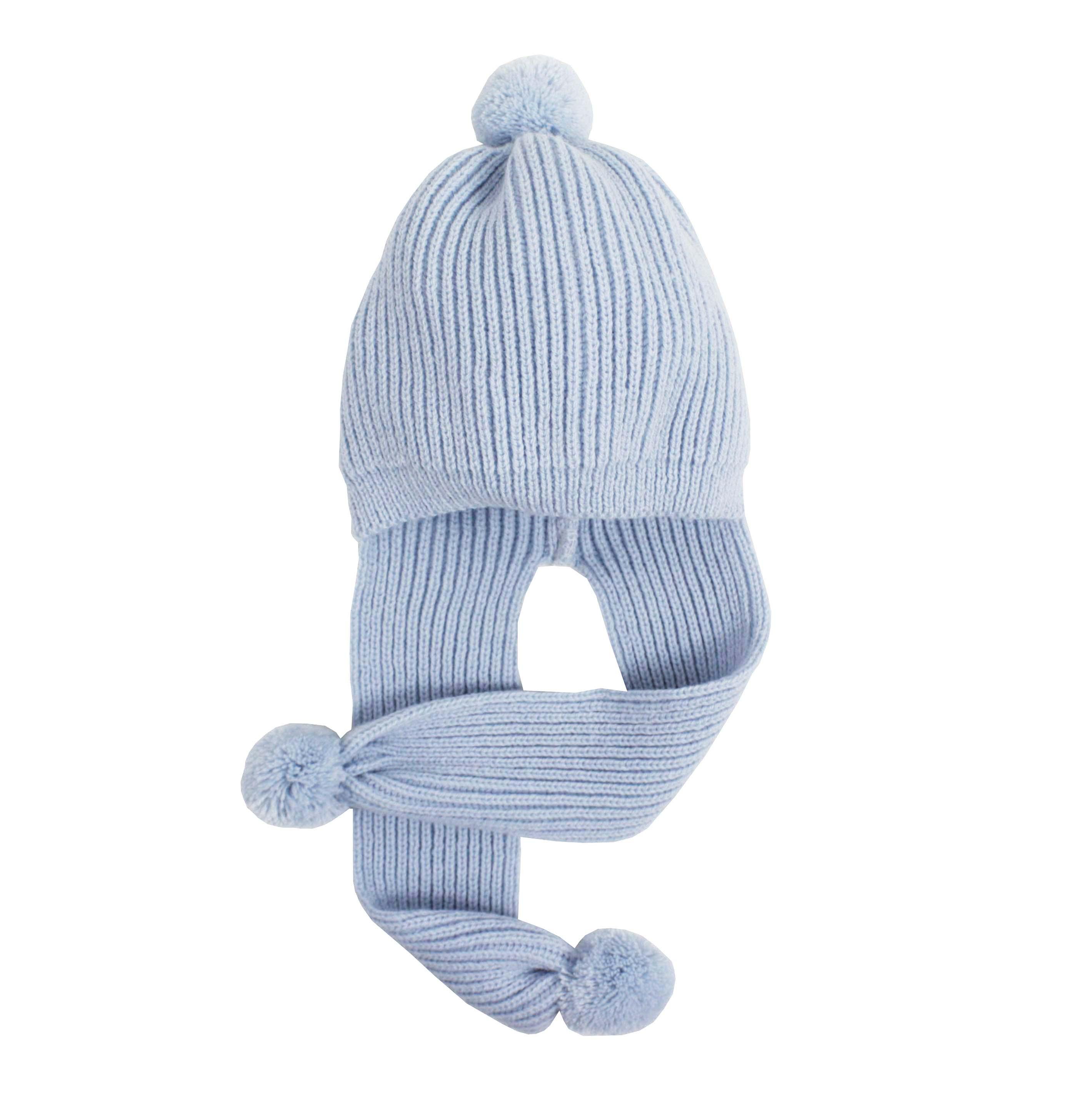 Knitted bonnet-scarf in blue. ded85c1de36