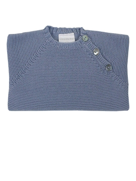 Buttoned thick knit sweater in medium blue