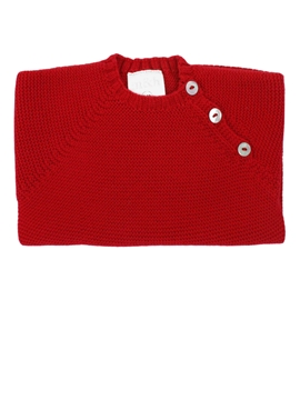 Buttoned thick knit sweater in red