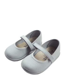 Grey Mary Jane canvas shoes