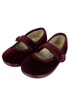Burgundy velvet cross bar shoes with button