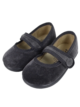 Grey velvet cross bar shoes with button