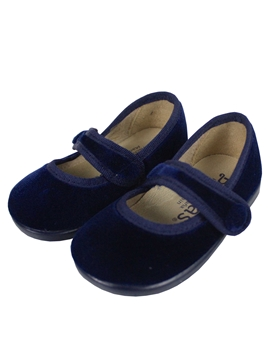 Navy blue velvet cross bar shoes with button