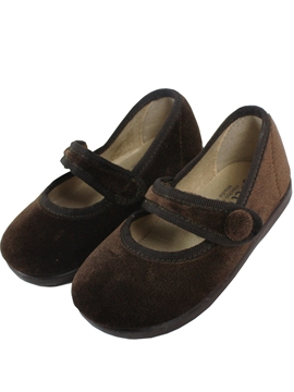 Brown velvet cross bar shoes with velcro
