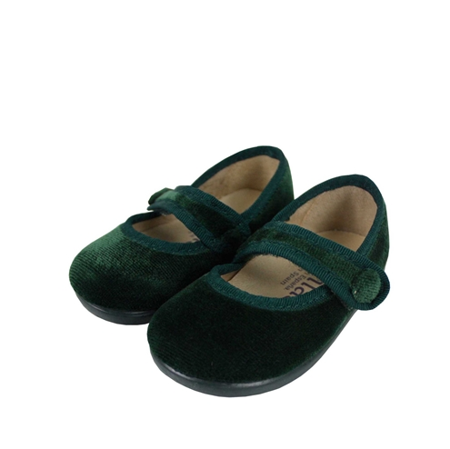 Green velvet cross bar shoes with button