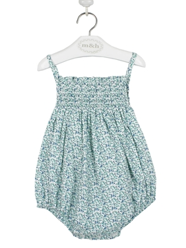swim romper green and blue flowers