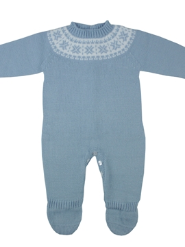 Blue knitted jumpsuit with fretwork