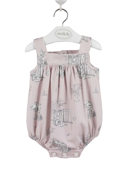 Baby romper pink Toile pattern myh
