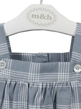 baby romper grey blue plaid white