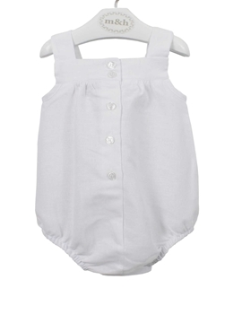 baby romper white linen buttons