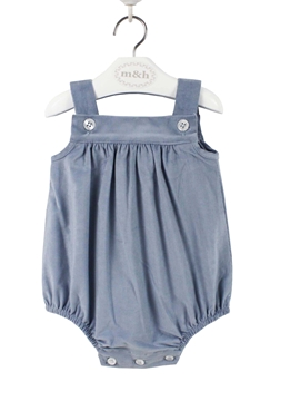 baby romper blue and grey corduroy