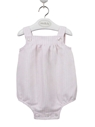 baby romper pink and white stripes linen