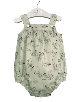 Baby romper birds pattern green