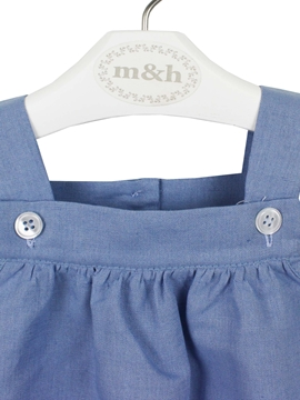 baby romper medium blue linen