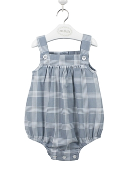 baby romper blu grey plaid