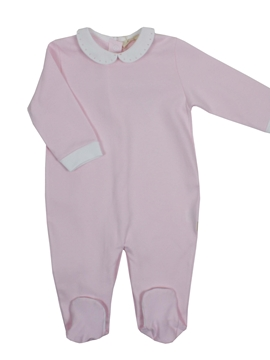 Pink cotton sleepsuit with polka dots